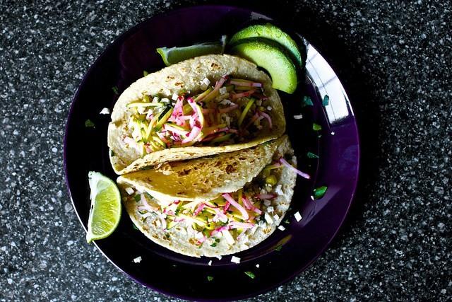 Charred Corn Tacos with Zucchini-Radish Slaw | Maggie Rife ...