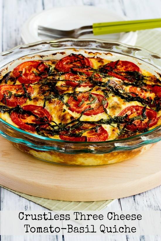 Crustless Three Cheese Tomato Basil Quiche Sgtyson