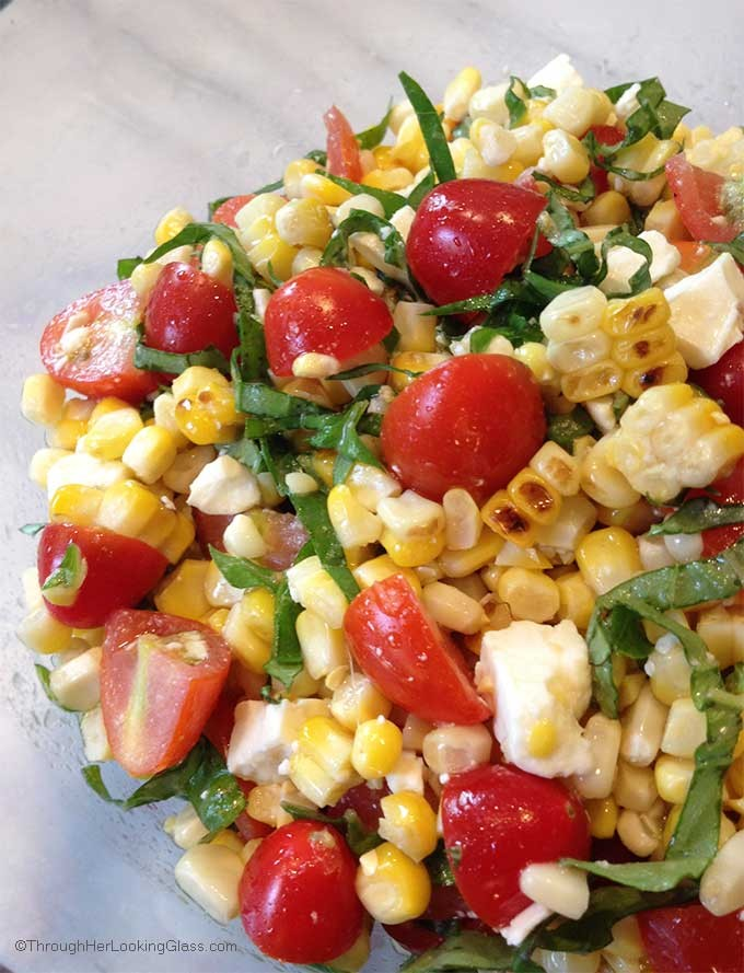Grilled Corn, Basil & Tomato Salad W/Feta | cvc | Copy Me That