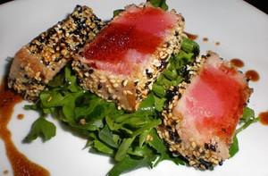 Sesame Crusted Tuna Steak On Arugula | Jenny C | Copy Me That